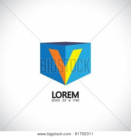 Letter V As Cube Icon Design Template Elements - Vector Graphic Illustration