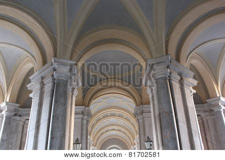 Caserta Royal Palace, external colonnade detail