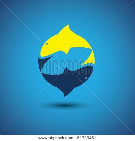 Pair Of Dolphins Playing Together - Vector Graphic