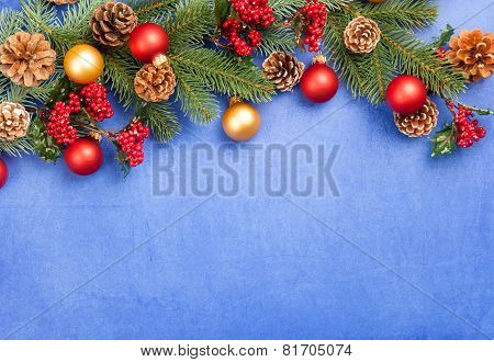 Christmas Decorate On Blue Background.