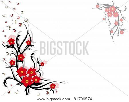 Floral Swirl Postcard With Red Flowers