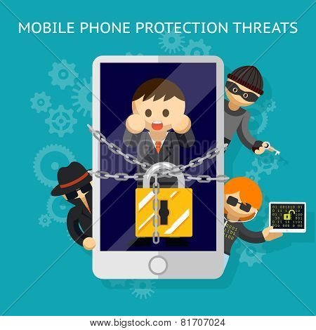Mobile phone protection threats. Security against of hacking attempts