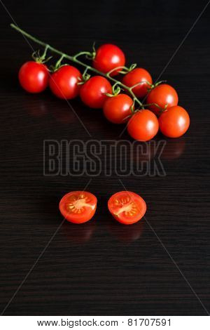 Red Tomatoes On Dark Table