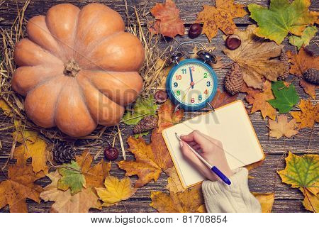 Female Hand Writing Something In Notebook On Autumn Background.