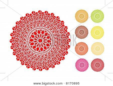 Filigree Lace Doilies, 9 Brights