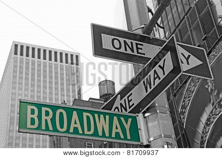 Street Signs For Broadway In Nyc.