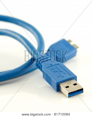 Blue Usb 3.0 Cable With Micro B Connector Isolated On White Background.