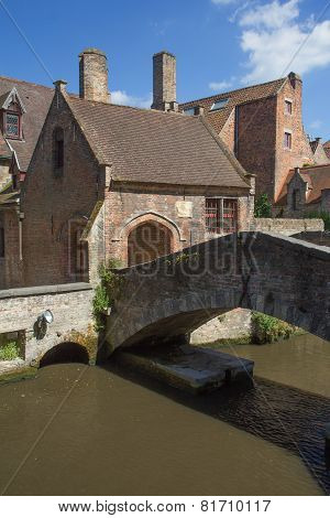 The Old Stone Bridge In Bruges