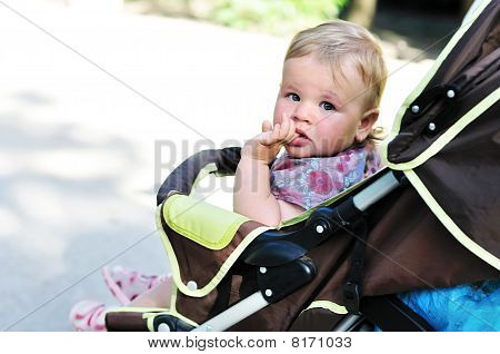 Baby Girl In The Pram