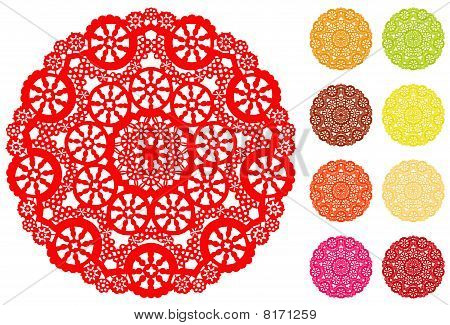 Snowflake Lace Doilies, 9 Brights