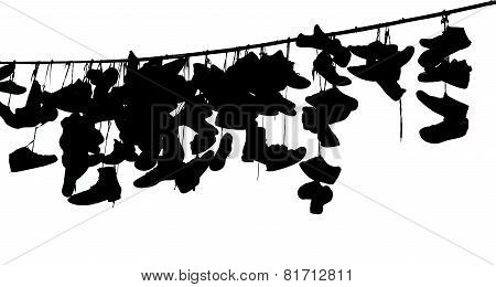 Shoes On Rope, Black And White