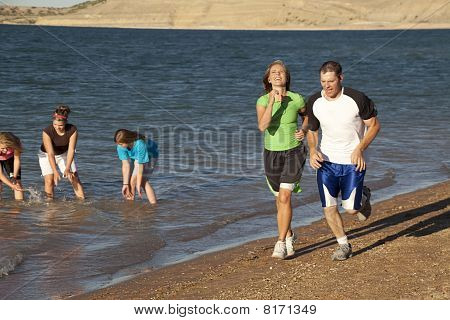 Laughing While Running Couple