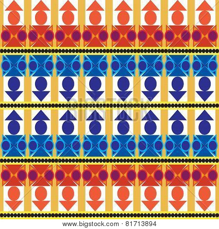 Aztec Tribal Seamless Pattern With Blue Forms Over White Background