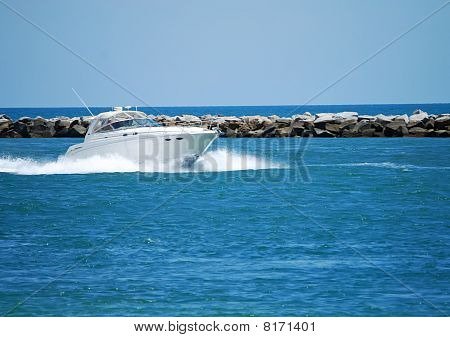 White Sport Fishing Boat on Government Cut Inlet