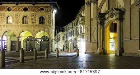 Vigevano, Piazza Ducale, night view. Color image