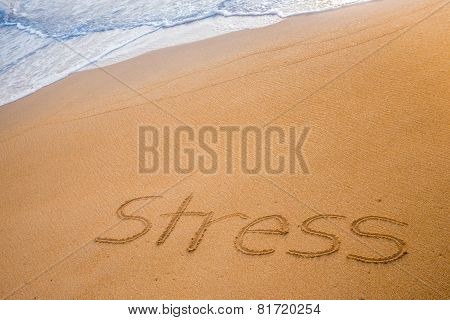 The Word Stress Written In The Sand
