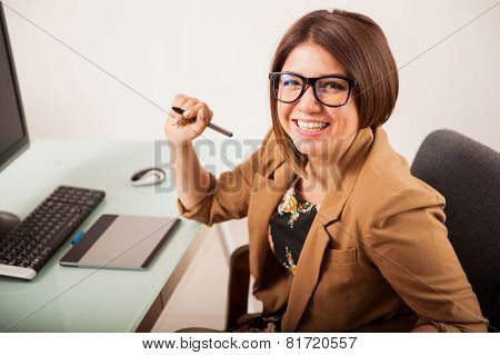 Cheerful Retoucher In An Office