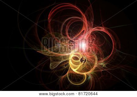 Threads That Shape Fiery Rings. Abstract Fractal Texture.