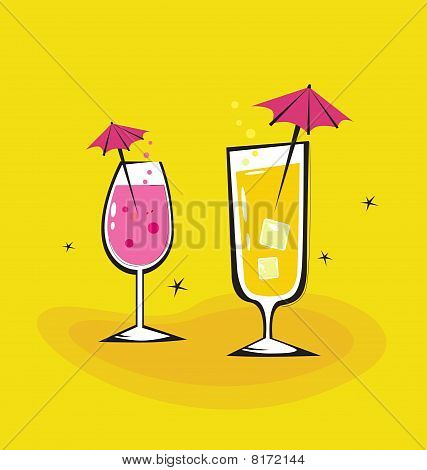 Two vector retro drinks isolated on orange background