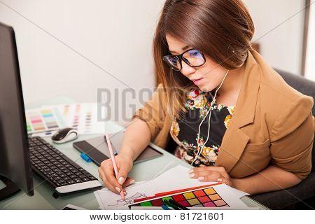 Cool Graphic Designer At Work