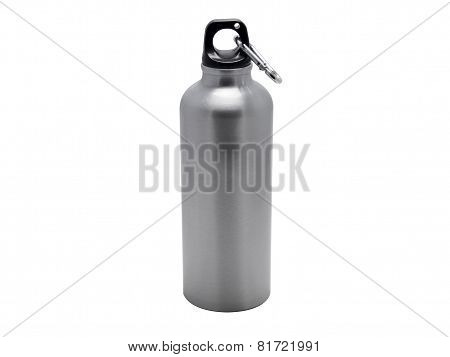 Aluminium sport water bottle with a carabiner attached to the top