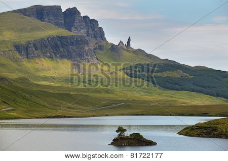 Scottish Landscape In Trotternish Peninsula. Skye Isle. Scotland