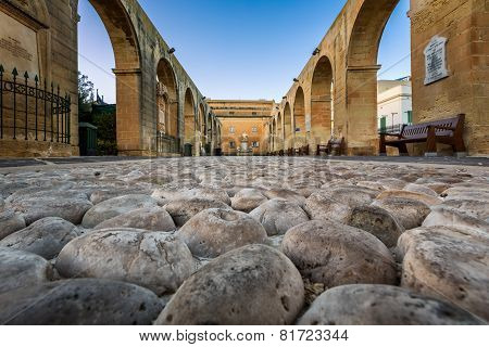 Cobbled Walkway In Upper Barrakka Gardens In Valletta, Malta
