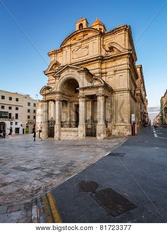 Saint Catherine Of Italy Church And Jean Vallette Pjazza In The Evening, Vallette, Malta