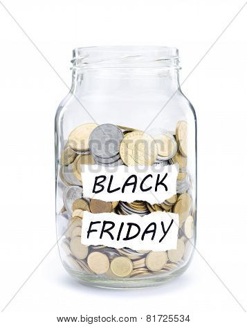 Jar with coins on Black Friday.