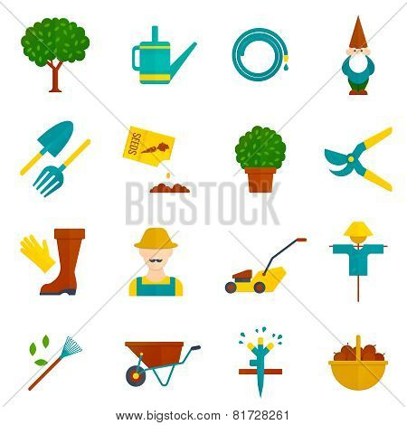 Vegetable garden flat icons set