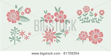 Number eight 8 of flowers. Sketch element for international womens day. Eps 8 vector illustration