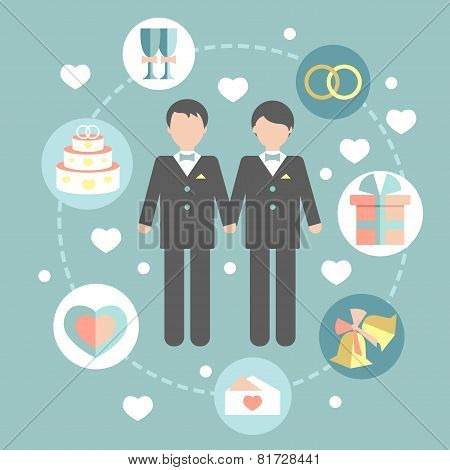 happy gay couple in wedding attire and casual clothes