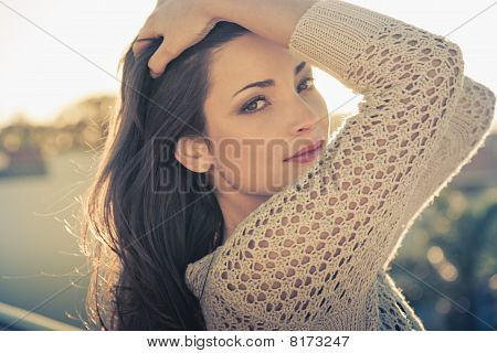 Natural Beauty Headshot Of Sexy Young Brunette Girl Outdoors