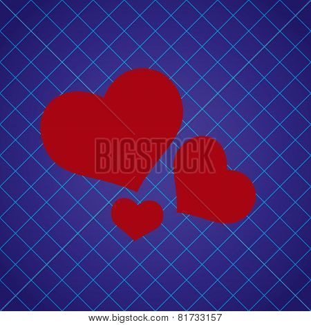 Abstract Checkered Blue Pattern With Red Love Heart Eps10
