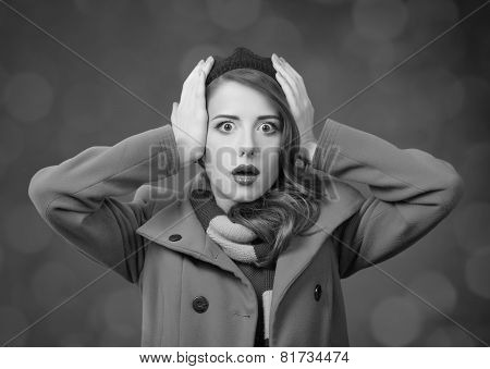 Surprised Girl In Beret And Coat