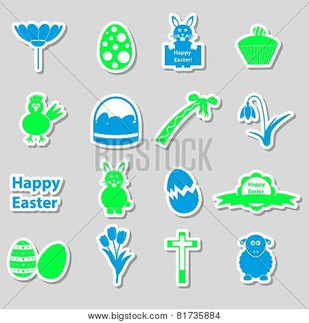 Various Color Easter Stickers Set With Shadow Eps10