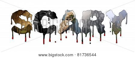 Graveyard Images Inside Scary Blood Dripping Text
