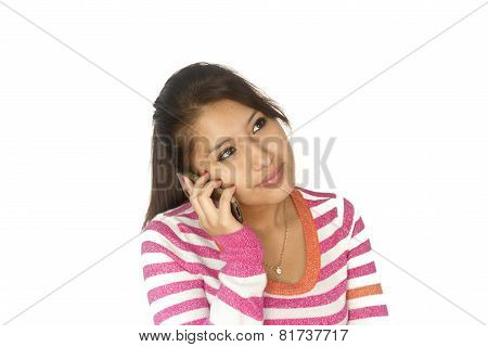 Cute Bolivian Girl With Phone