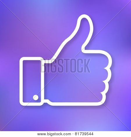 Linear illustration of  thumb up icon on bright blurred background