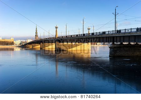 Bridge Over The Frozen River Daugava In Riga In Winter
