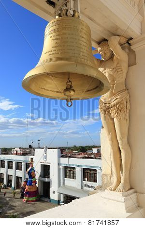 Statues and bell, Leon Cathedral, Nicaragua