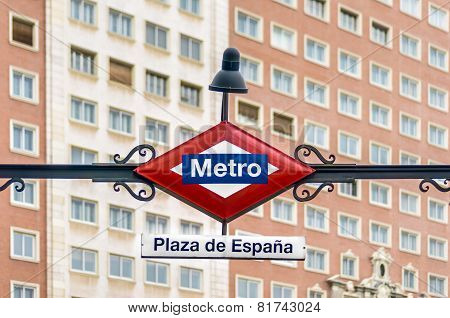 Plaza Espana Square Metro In Madrid, Spain