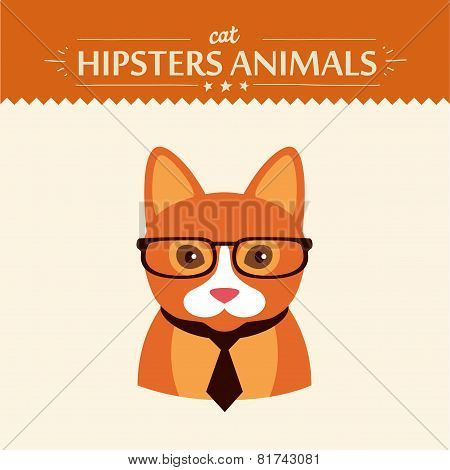 Fashion Portrait of Hipster Cat with glasses and bow
