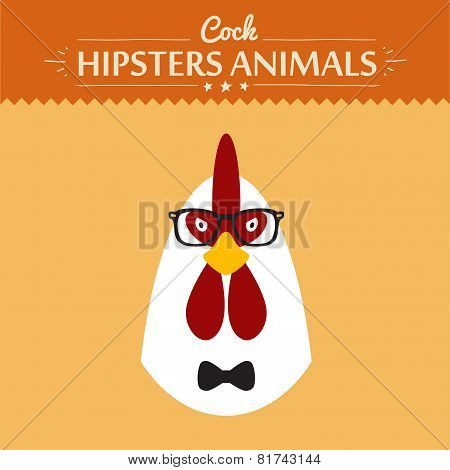 ashion Portrait of Hipster Cock with glasses and bow flat concept vector