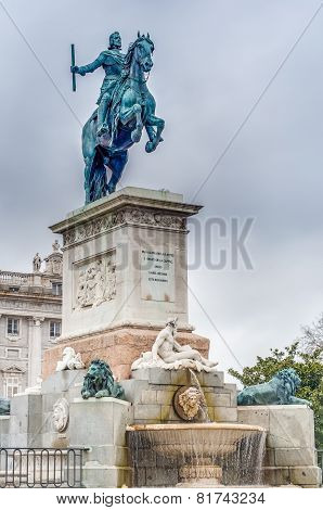 Monument To Philip Iv In Madrid, Spain.