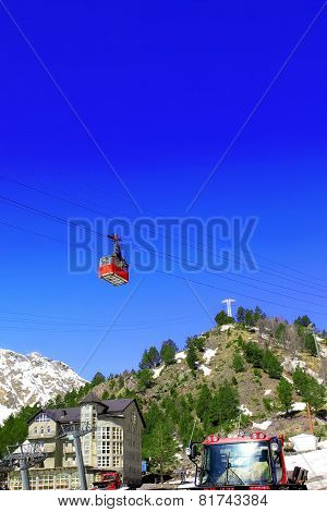 Wonderful View Of The Cableway In The Mountains.