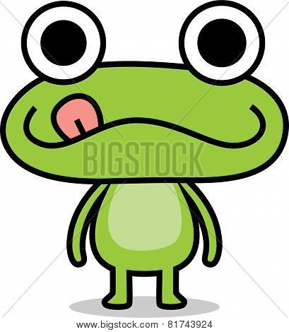 Green frog standing and stick its tongue out