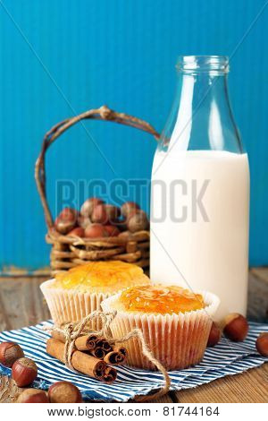 Breakfast Time (homemade Muffins With Orange And Cinnamon Jam, Milk, Nuts)