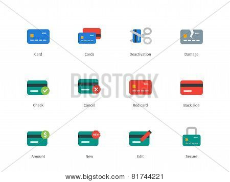 Credit and payment card colored icons on white background.