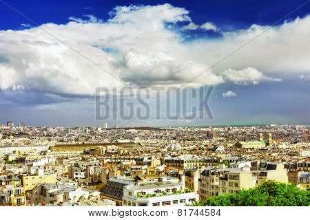 View Of Paris From The Hill Of Montmartre.paris.